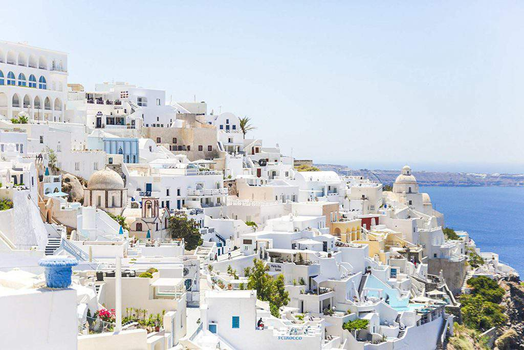 View of Fira from a cruise ship