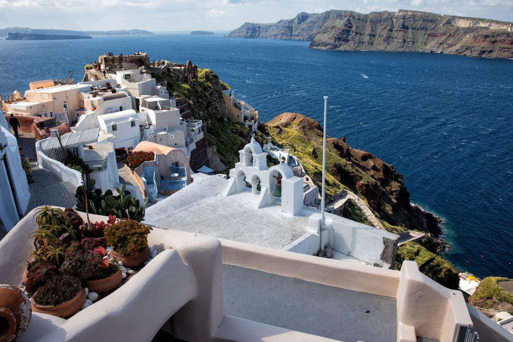 View of Oia from a cruise ship